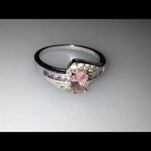 Size 10.5 Pink Topaz Ring S925 Stamped